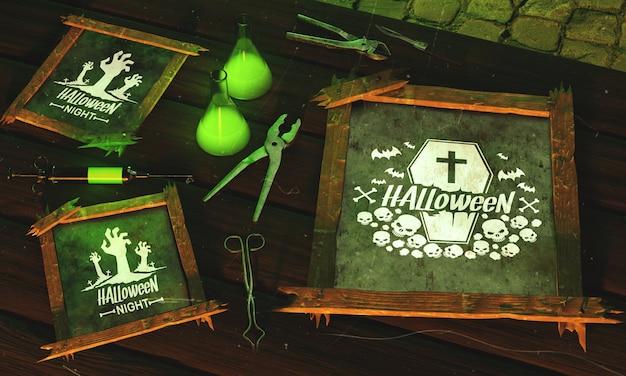 Moldura de halloween de alto ângulo com luz verde