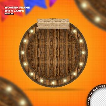 Moldura de madeira com lâmpadas, renderização 3d
