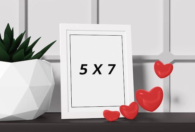 Moldura de maquete com desenho de corações