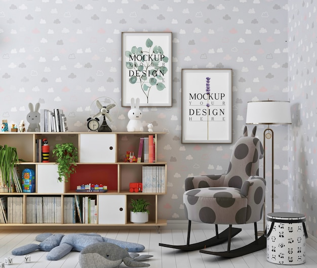 Moldura de maquete em um lindo quarto de bebê