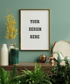 Moldura de maquete na prateleira verde com lindas plantas, renderização em 3d