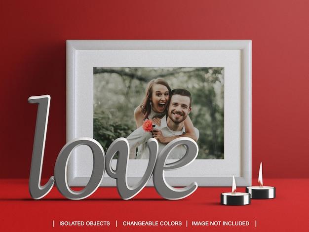 Moldura de modelo de cartão de foto e criador de cena com velas e decoração de dia dos namorados