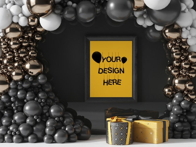 Moldura de parede preta decorada com balões dourados, pretos e brancos