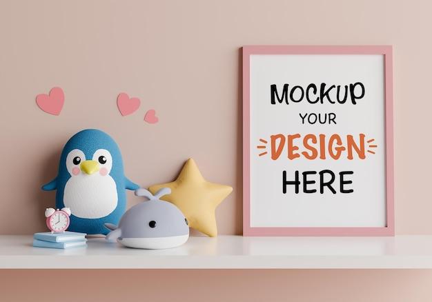 Moldura de pôster com boneca fofa para um chá de bebê com renderização 3d