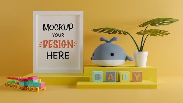 Moldura de pôster com uma linda boneca de baleia para um chá de bebê com renderização 3d