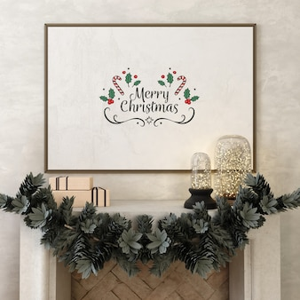 Moldura de pôster de maquete com árvore e decoração de natal