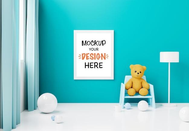 Moldura de pôster de maquete com um fofo urso de pelúcia para um menino bebê chuveiro renderização 3d