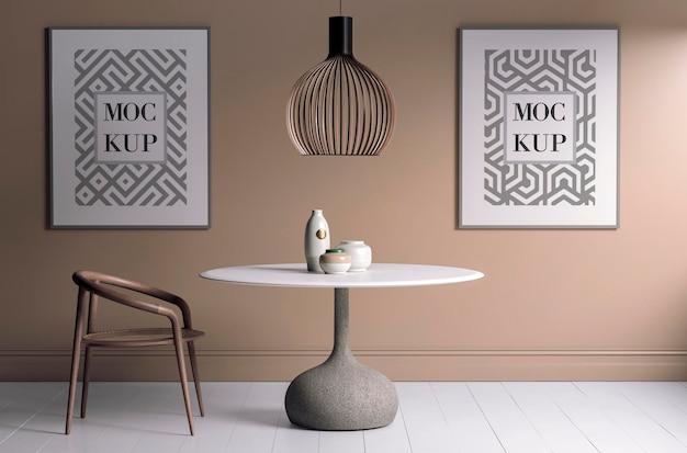 Moldura de pôster de maquete em interior moderno
