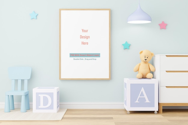 Moldura de pôster de maquete em maquete de quarto infantil em renderização em 3d