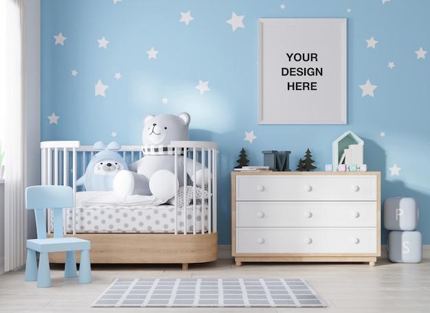 Moldura de pôster de maquete em quarto infantil renderização em 3d