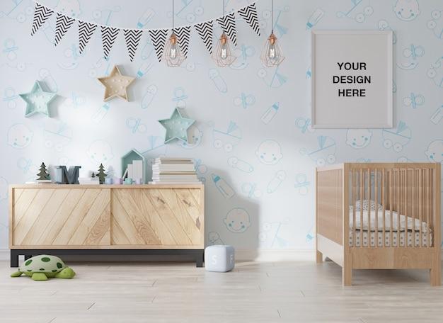Moldura de pôster de maquete em quarto infantil