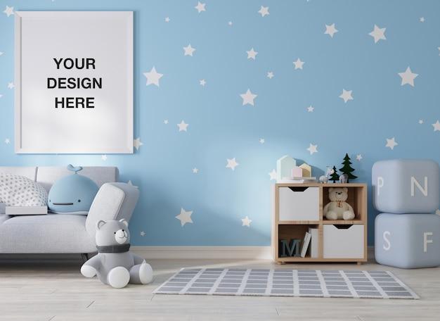 Moldura de pôster de maquete em renderização de quarto infantil