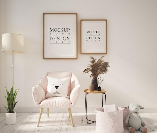 Moldura de pôster de maquete em sala de estar moderna com poltrona