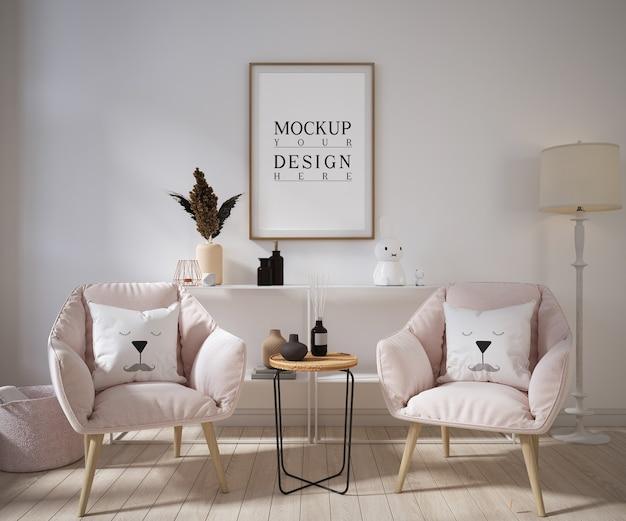 Moldura de pôster de maquete em sala de estar moderna com poltronas