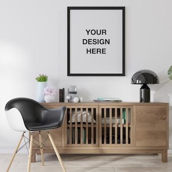 Moldura de pôster de maquete na sala de estar