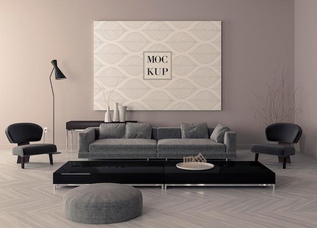 Moldura de pôster de maquete no interior de estilo escandinavo