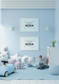 Moldura de pôster em maquete de quarto infantil