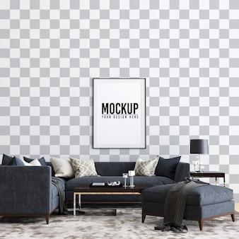 Moldura de poster interior sala de estar mock up