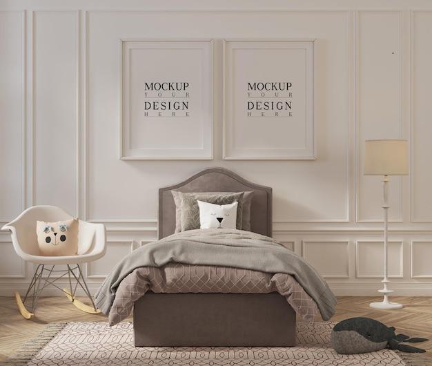 Moldura de pôster linda maquete em design de quarto infantil