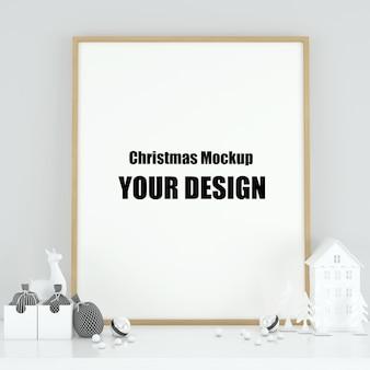 Moldura de pôster mock up no interior escandinavo decoração de natal e inverno