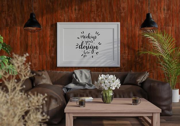 Moldura de pôster na maquete da sala de estar