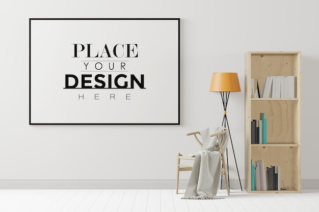 Moldura de pôster na sala de estar com estante e cadeira