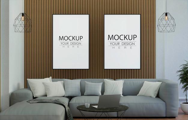 Moldura de pôster na sala de estar psd mockup