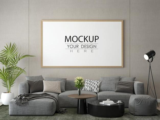 Moldura de pôster na sala de estar simulada