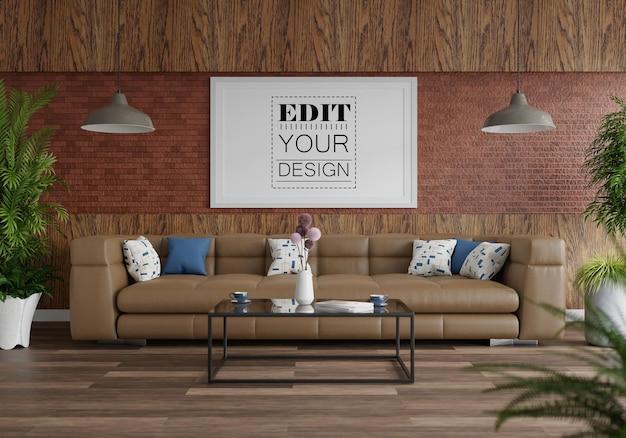 Moldura de pôster na sala de estar