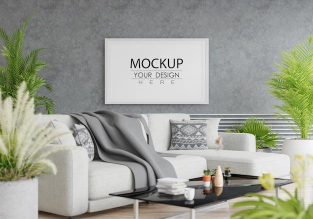 Moldura de pôster na sala de estar Psd Premium