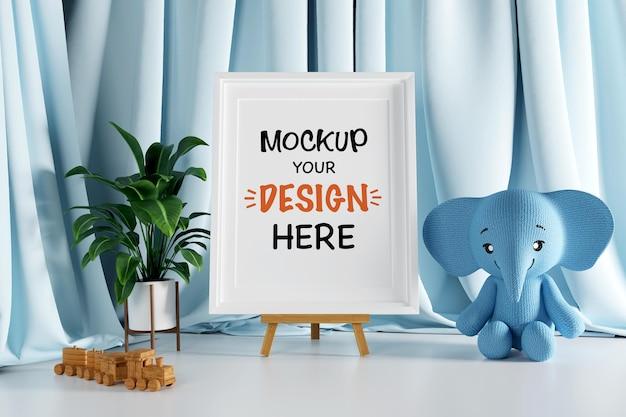 Moldura de pôster simulada com boneca elefante fofa para um chá de bebê com renderização 3d