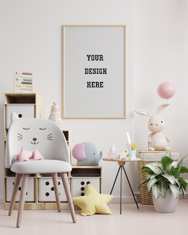 Moldura de pôster simulada em quarto infantil, quarto infantil, maquete de berçário, renderização 3d