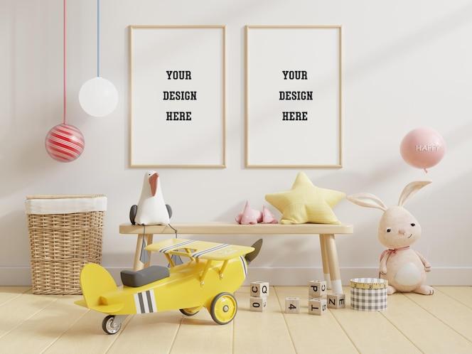 Moldura de pôster simulada em quarto infantil, quarto infantil
