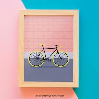 Moldura de quadros com bicicleta