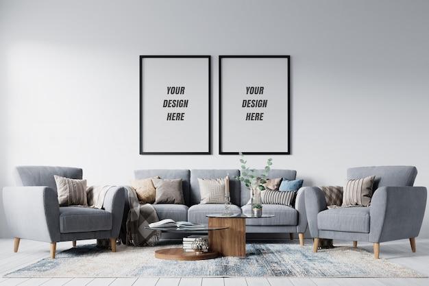 Moldura de sala de estar moderna e maquete de parede