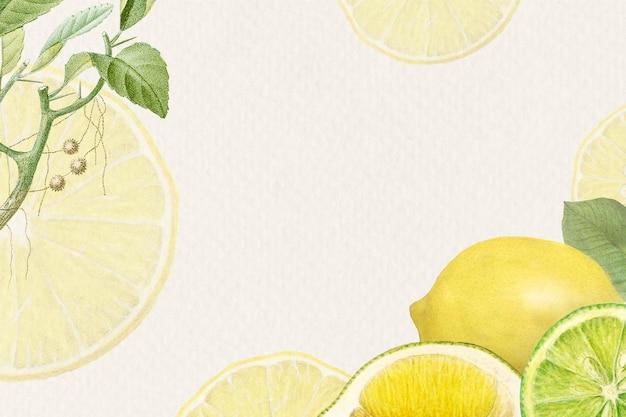 Moldura desenhada à mão com padrão de limão fresco natural