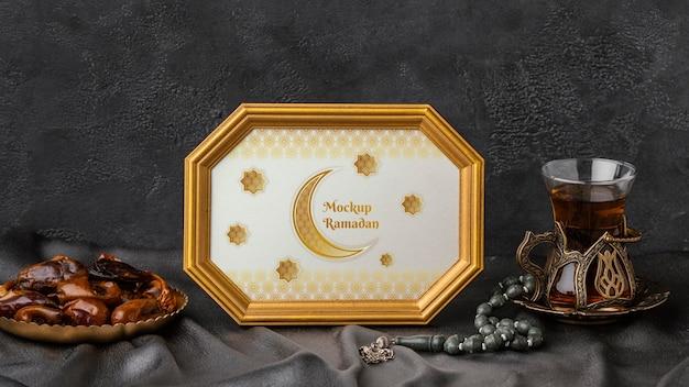 Moldura dourada islâmica do ramadã