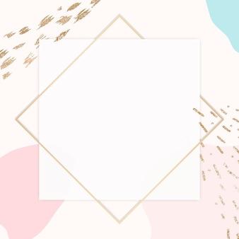Moldura dourada pastel de memphis psd com espaço de design