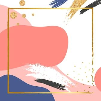 Moldura dourada psd no fundo rosa coral memphis