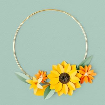 Moldura dourada redonda com maquete de flores de papel artesanal