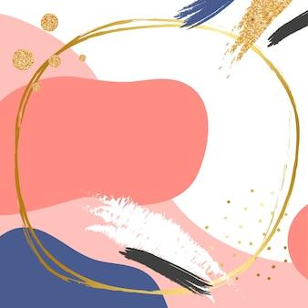 Moldura dourada redonda psd no fundo padrão memphis