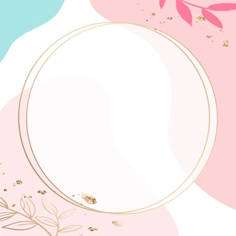 Moldura dourada redonda psd sobre fundo rosa memphis