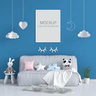 Moldura em branco para maquete no quarto de criança azul
