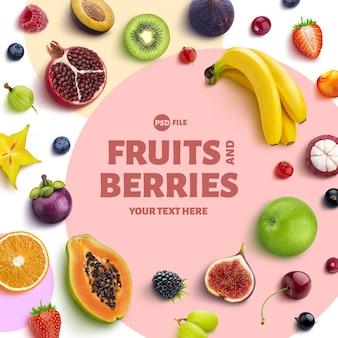 Moldura feita de frutas e bagas