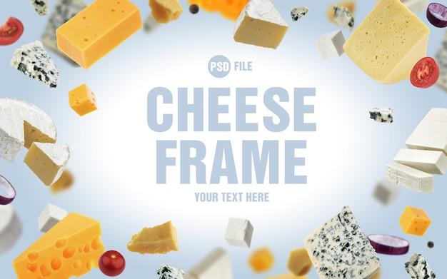 Moldura feita de queijos diferentes