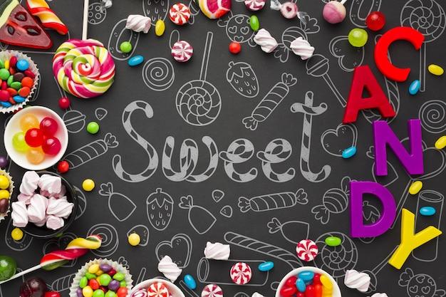 Moldura formada por doces