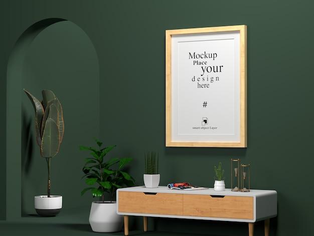 Moldura interior em branco simulada na sala de estar