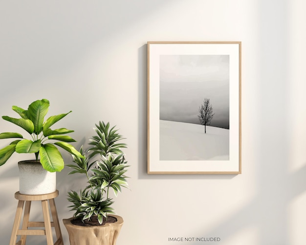 Moldura interior viva e maquete de plantas