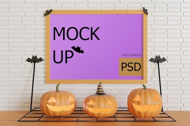 Moldura maquete na parede com abóboras de halloween
