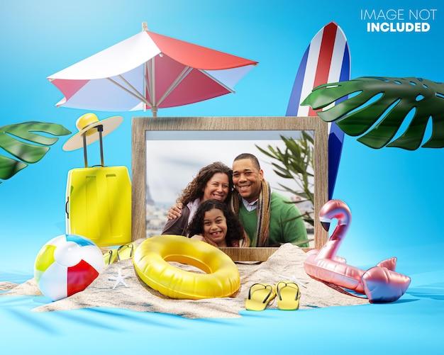 Moldura para fotos mockup summer beach accessories 3d rendering